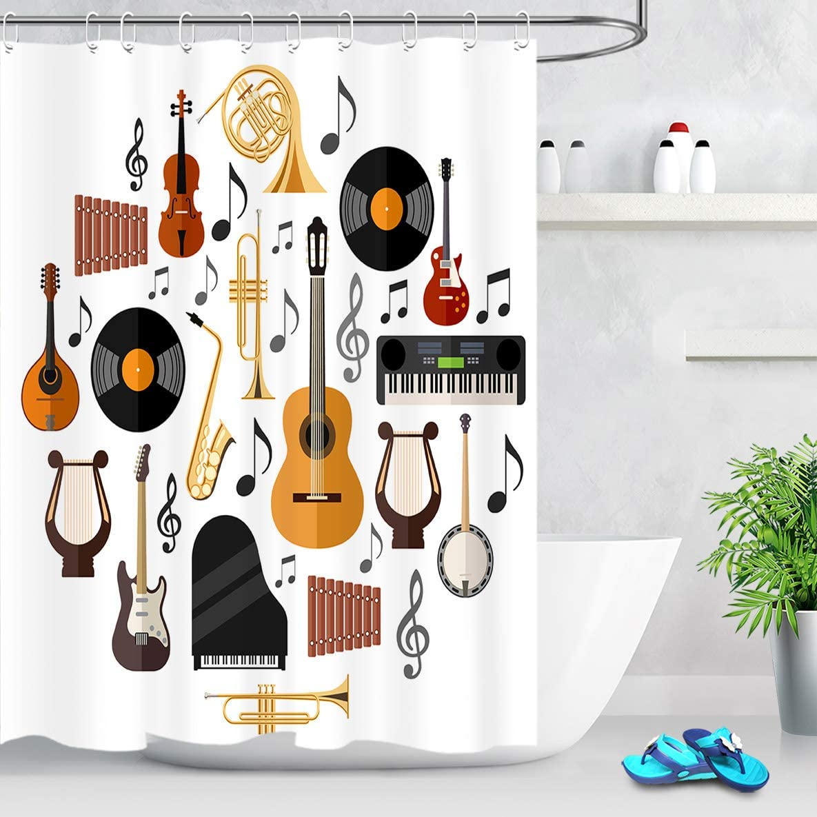 guitar wall decor.htm amazon com lb white background musical instrument print shower  lb white background musical instrument