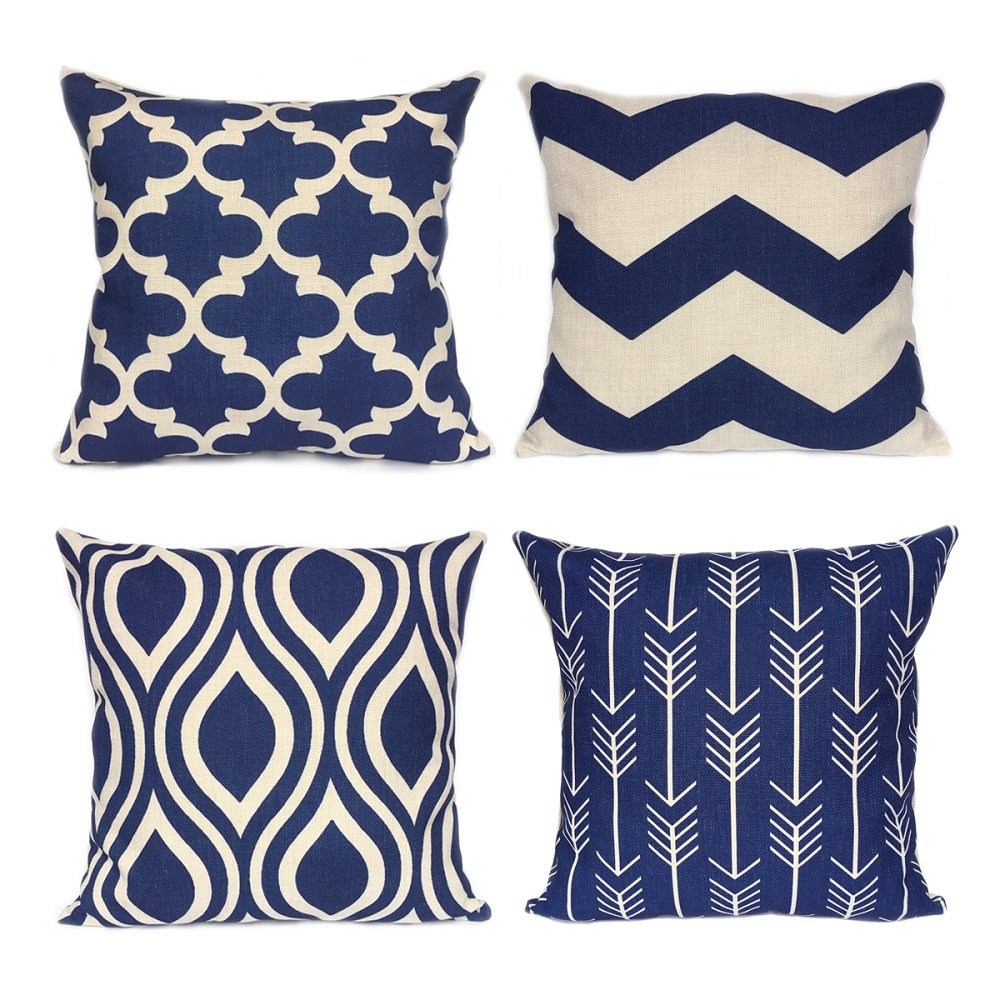 Sensational Fanhomcy Navy Blue Geometrict Throw Pillows Cases For Couch Decorative Cushion Covers Set Of 4 18 X 18 Inch Spiritservingveterans Wood Chair Design Ideas Spiritservingveteransorg