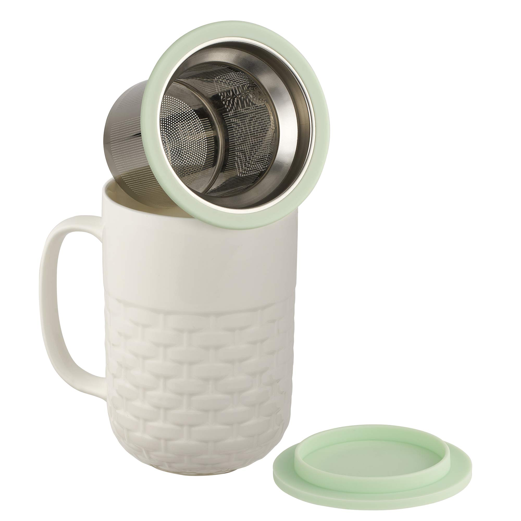 casaWare 15-Ounce Weave Textured New Bone China White Tea Infuser Mug with Lid/Coaster (Green Lid)