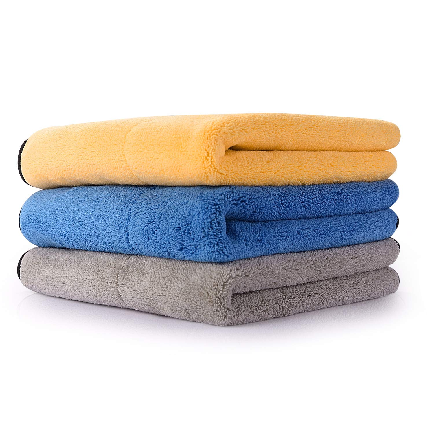 Lint Free Dual Layer Microfiber Cleaning Cloths 14.5x14.5 HOUSE AGAIN Ultra-Thick Car Microfiber Cleaning Towels Silk Edging Car Wash Waxing Polishing and Drying Towels 3 Pack Super Absorbent