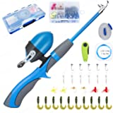 Lvaen Kids Fishing Pole Telescopic Fishing Pod All-in-One Youth Fishing Kit with Travel Box, Reel and Beginners Guide and Ree
