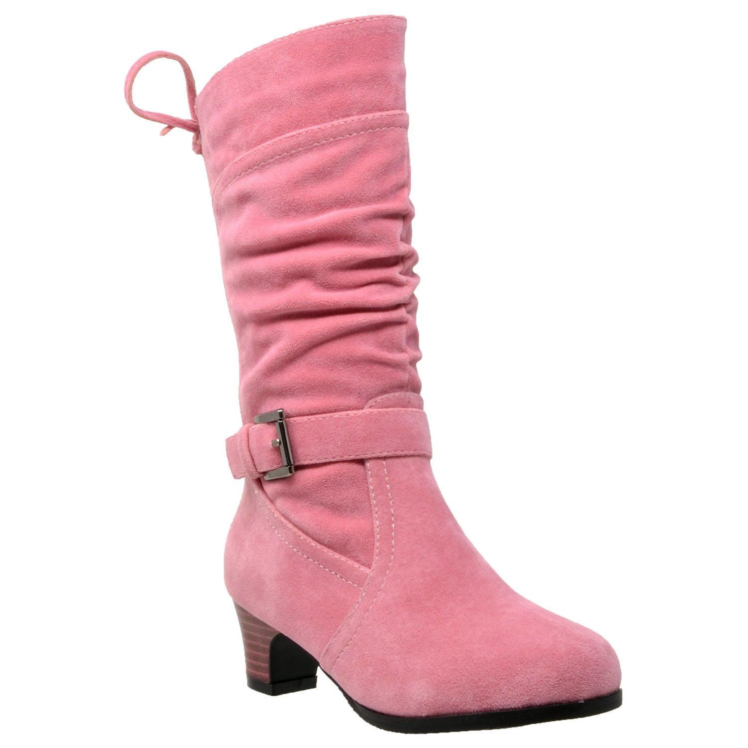 14976573362e Galleon - Generation Y Kids Knee High Boots Corset Lace Up Back Buckle  Strap Low Heel Shoes Coral SZ 11 Toddler