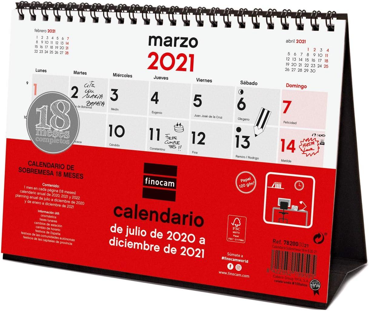Finocam - Calendario de Sobremesa 18 Meses 2020-2021 S - 210x150 Mes Vista Español