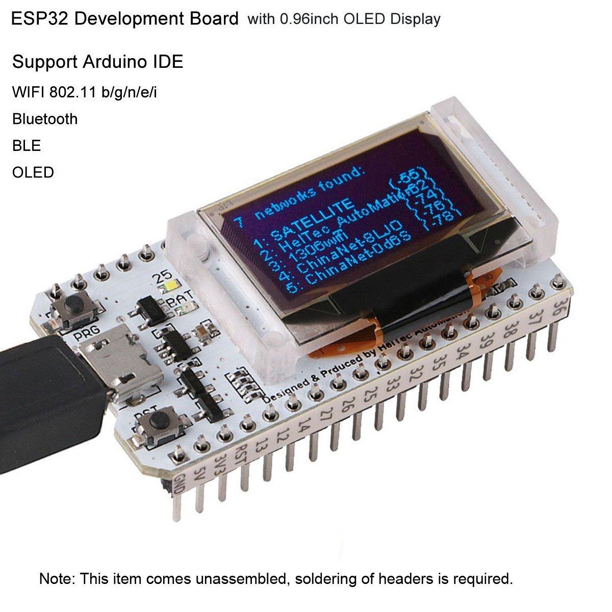 MakerFocus ESP32 OLED WiFi Kit ESP-32 0 96 Inch OLED Display WiFi+Bluetooth  CP2102 Internet Development Board for Arduino ESP8266 NodeMCU
