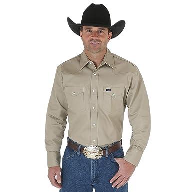 0b054f01a6 Wrangler Men s Authentic Cowboy Cut Work Western Long-Sleeve Firm Finish  Shirt