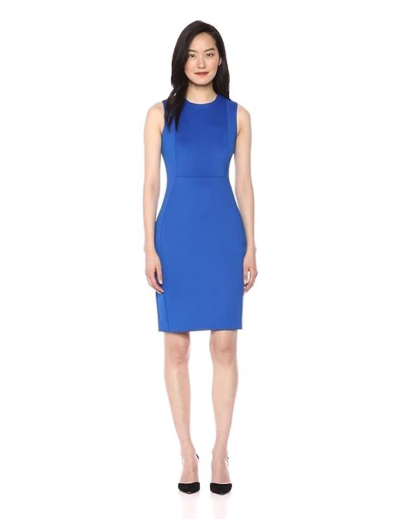 c9ba9423 Calvin Klein Women's Scuba Sleeveless Princess Seamed Sheath Dress at  Amazon Women's Clothing store: