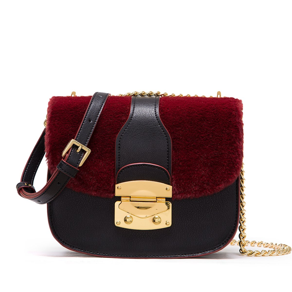 LA FESTIN Retro Leather Saddle Bag for Women with Shoulder Chain Strap  Black - Burgundy  Handbags  Amazon.com cb7f6a73bef11