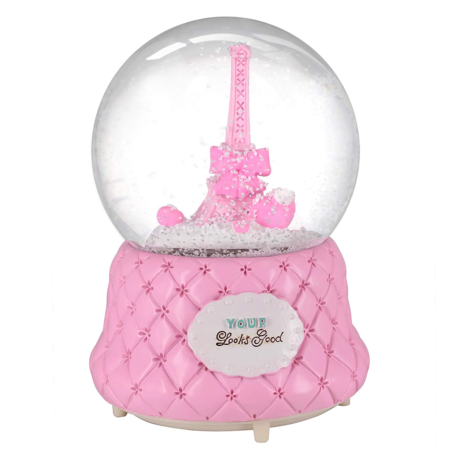 Romantic Eiffel Tower Snow Globe Souvenir Nice Pies Pink Paris Snow Globe Exclusive with Automatic Snowfall and Colorful Lights 100mm Glass Globes