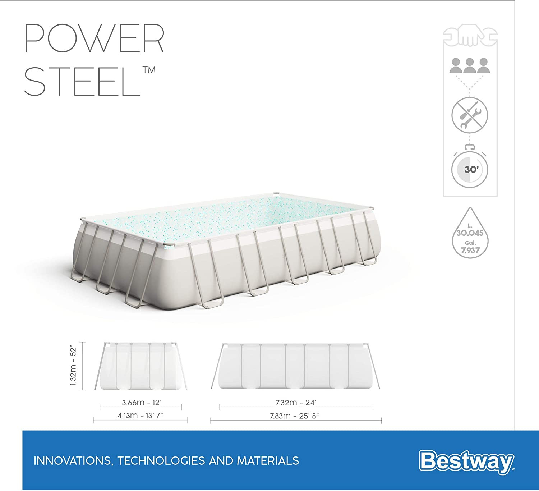 mit Filterpumpe eckig Sicherheitsleiter /& Abdeckplane 732 x 366 x 132 cm Bestway Power Steel  Framepool  Komplett-Set