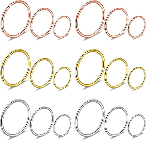 Amazon Com Lcolyoli 18pcs 18g 316l Stainless Steel Nose Ring Hoop Cartilage Hoop Septum Piercing For Women Men Girls 6mm 8mm 10mm Silver Tone Rose Gold Jewelry