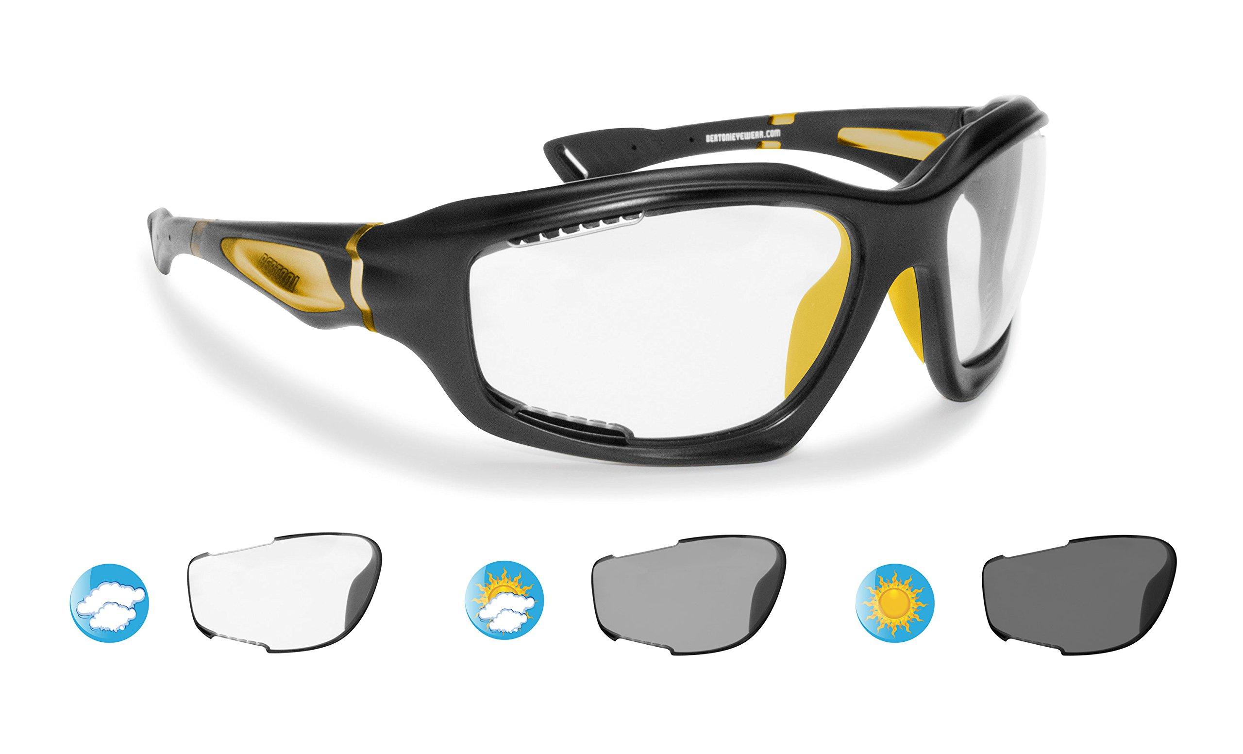 Bertoni Sport Sunglasses Photochromic cat. 0-3 Antifog for Cycling Running Golf Ski Watersports - F1000C1 Wraparound Windproof Glasses (Mat Black/Yellow, Photochromic Antifog)