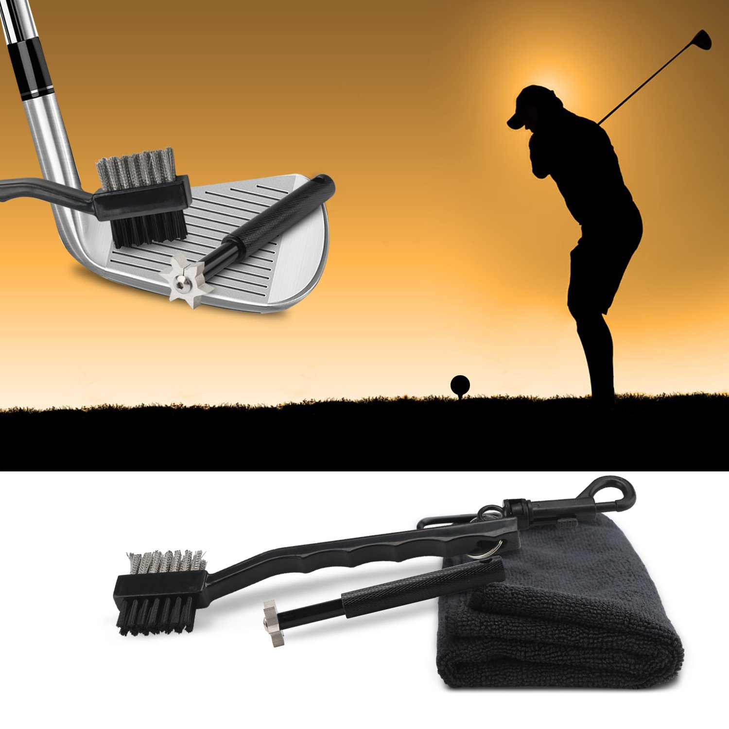 Black Golf Towel with Brush & Club Groove Sharpener Set, Handy DROK Golf Club Cleaner with 16″×16″ Microfiber Sport Towel & 6-Cutter Aluminum Regrooving Tool, Awesome Golf Accessories by DROK (Image #2)