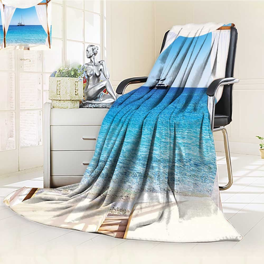 YOYI-HOME Throw Duplex Printed Blanket Through A Balinese Bed Summer Sunshine Clear Sky Honeymoon Natural Spa Picture Blue White Velvet Plush Throw Blanket /W59 x H86.5