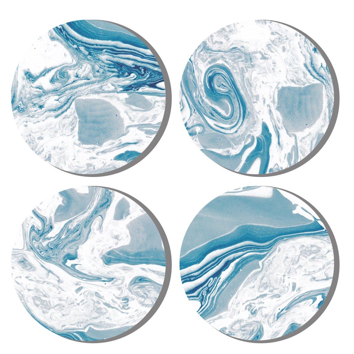 Dragonfruit Ceramic Coasters, 4 Pack, Marble Design, Cork Back, 4'' Diameter, 0.25'' Height - Blue