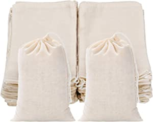 Tatuo 50 Pieces Cotton Drawstring Bags Muslin Bag Sachet Bag for Home Supplies (4 by 6 Inches
