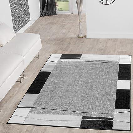 Tappeto Conveniente Design Con Bordatura Tappeto Moderno Per Soggiorno  Grigio Nero Prezzo Eccezionale, Größe:160x220 cm