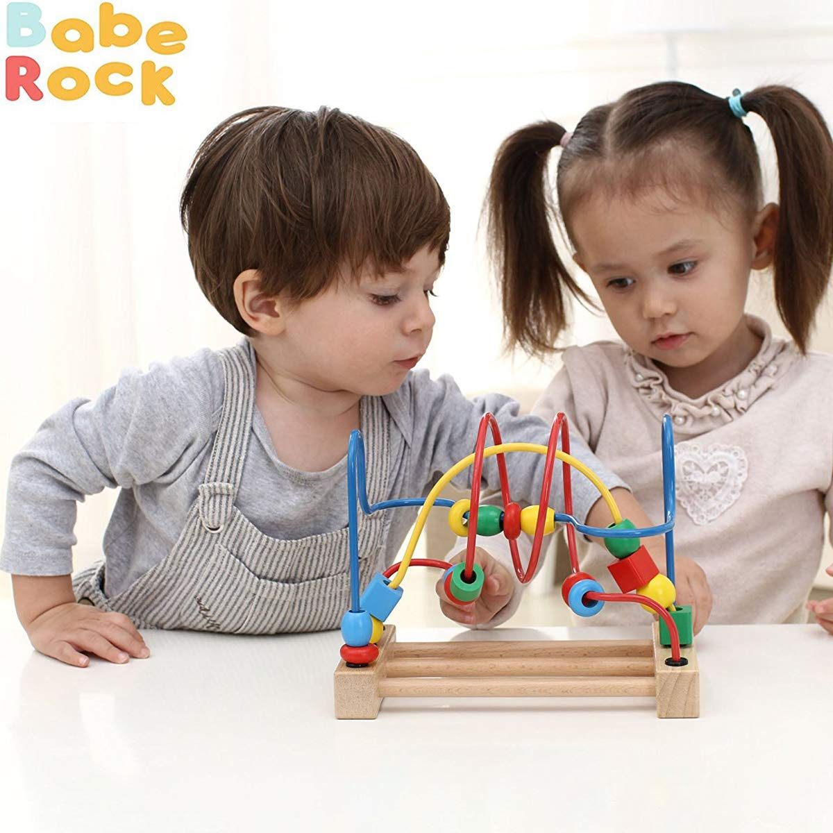Wooden Bead Maze Game Maze Roller Coaster Educational Toys for 1 2 3 Years Old Boys Girls Gifts