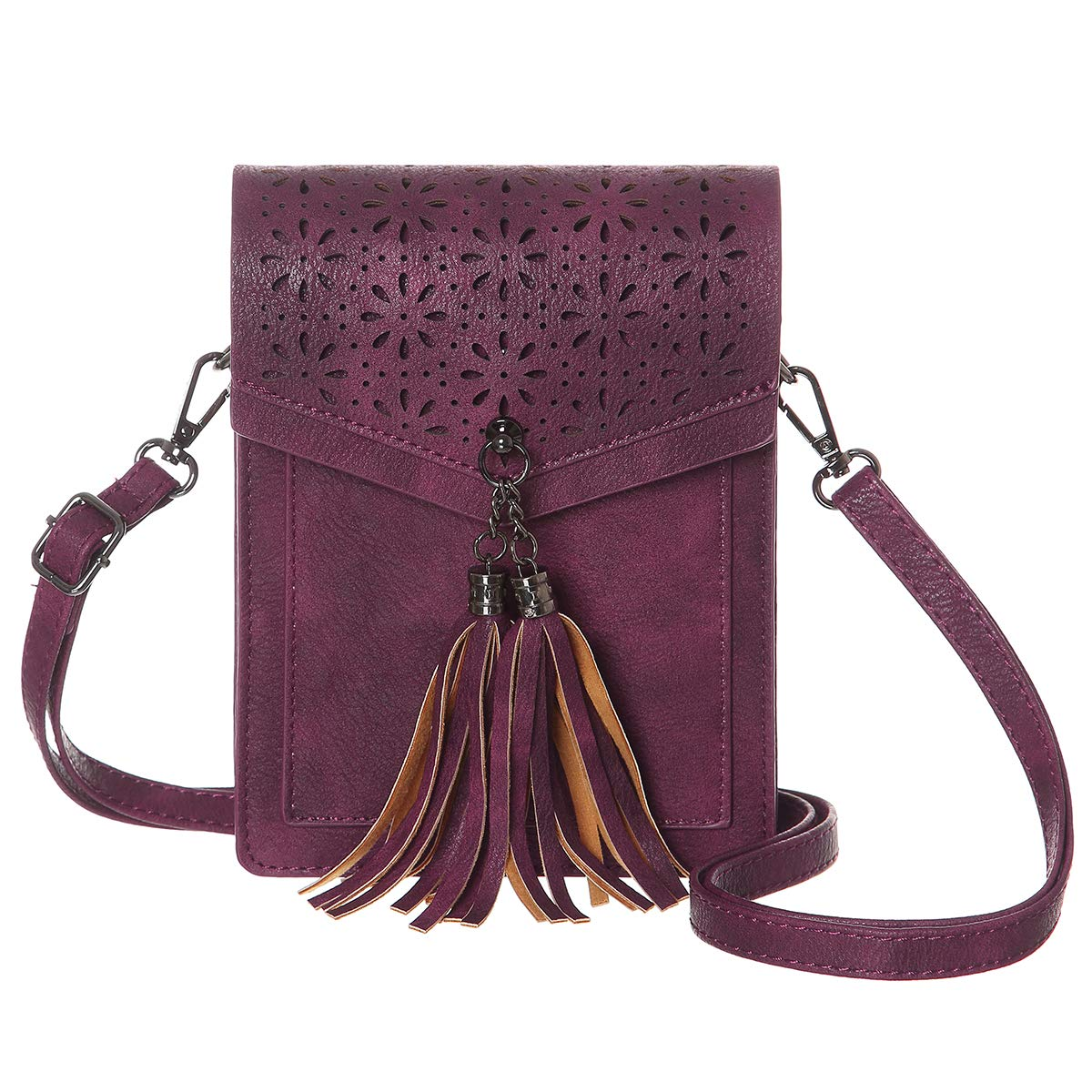 MINICAT Fringe Thicher Pocket Cell Phone Purse Wallet Small Crossbody Bags For Women With Credit Card Slots(Burgundy)