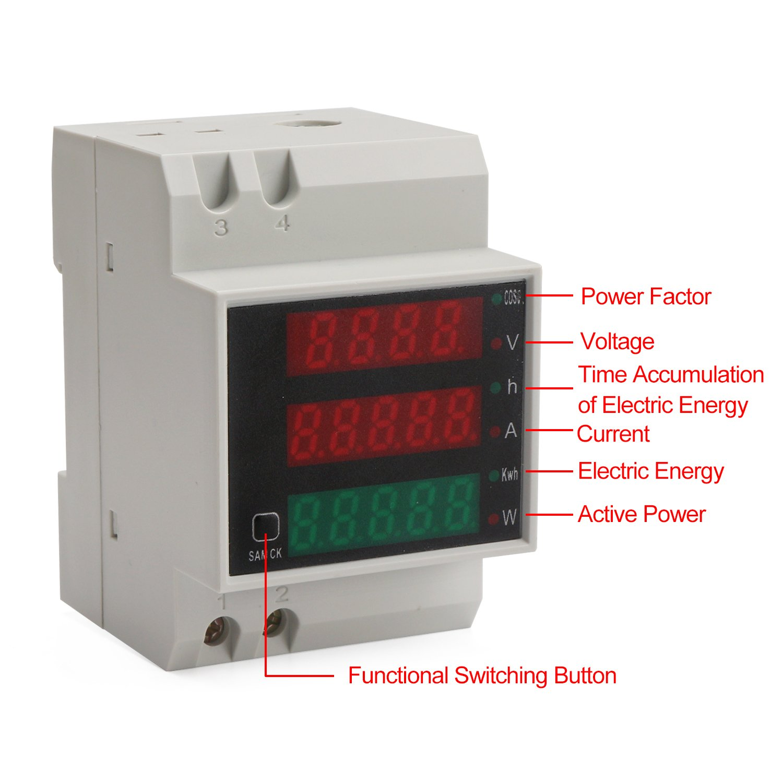 DROK DIN Rail Digital Multimeter AC Voltmeter Ammeter Power Energy KWh Meter Power Factor Accumulation Time Monitor Multifunction Meter by DROK (Image #6)