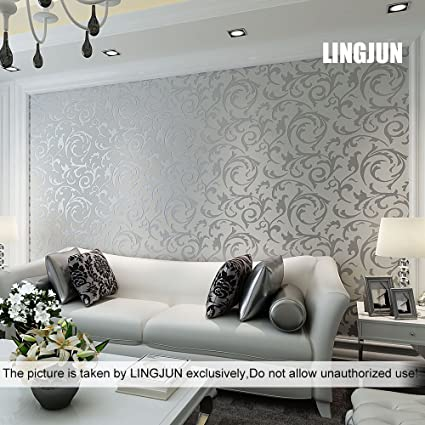 Modern Minimalist Non-woven Water Plant Pattern 3D Flocking Embossed  Wallpaper Roll Living Room Bedroom Silver Grey (3)