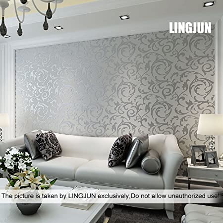 Modern Minimalist Non Woven Water Plant Pattern 3D Flocking Embossed Wallpaper Roll Living Room Bedroom