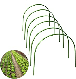 pinnacleT1 6 Pack Greenhouse Hoops Grow Frame Tunnel,4ft Long Steel with Plastic Coated Support Hoops,Plant Support Garden Stakes for Plant Frost Protection Season Extension