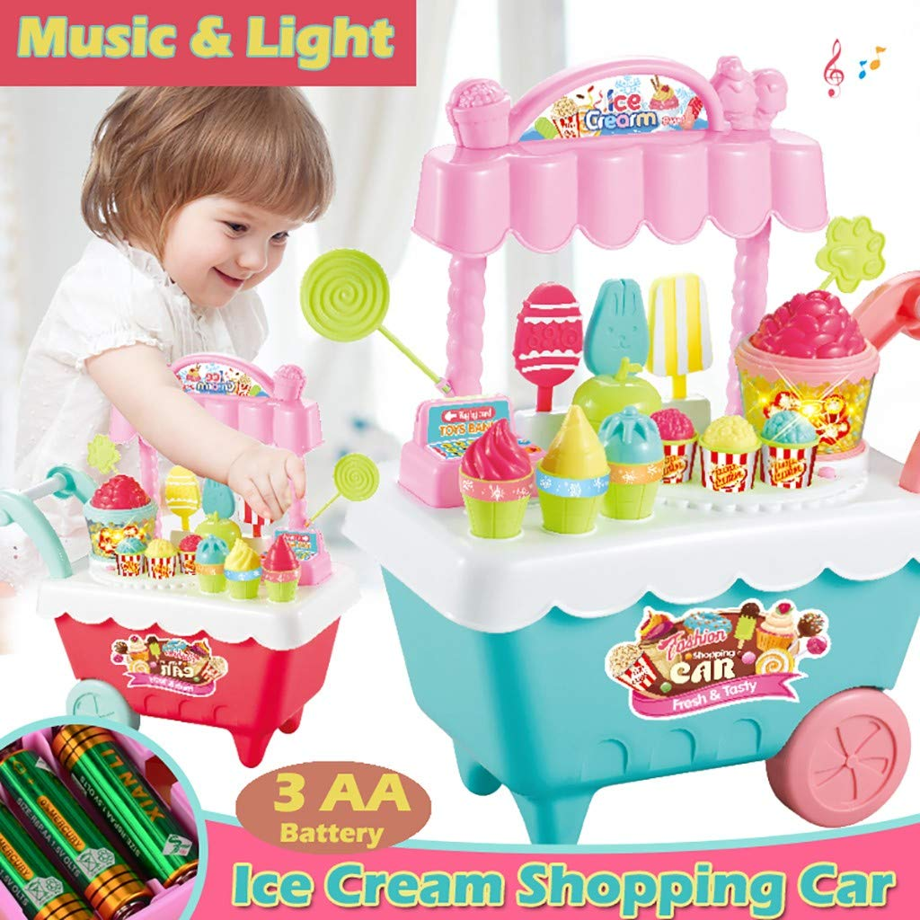 Amazon.com: LtrottedJ New Kids Toys Simulation Mini Candy Ice Cream Trolley Shop Pretend Play Set (Red): Toys & Games