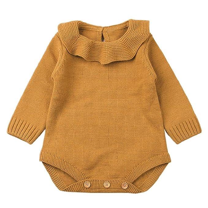 QUICKLYLY Mameluco Punto Invierno Recién Nacido Bebé Niño Niña Manga Larga Elástico Mono Peleles Ropa