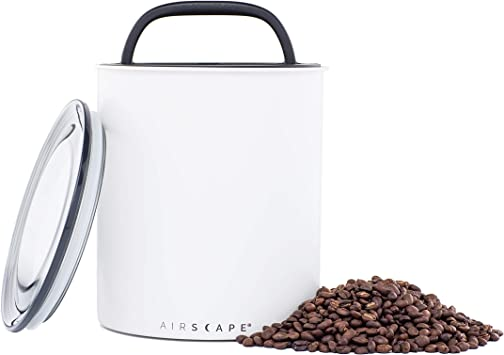 Airscape Coffee Storage Canister (2.5 lb Dry Beans) - Extra Large Kilo Size Container Patented CO2 Releasing Airtight Lid Pushes Air Out to Preserve Food Freshness - Matte Finish Chalk (White)