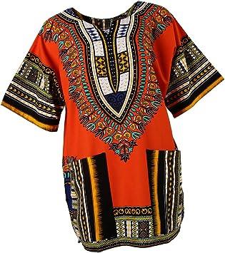 Camisa Africana Estampados Unisex Adulto Colores Brillantes Estampados Bordados Geométricos Florales - Naranja: Amazon.es: Deportes y aire libre