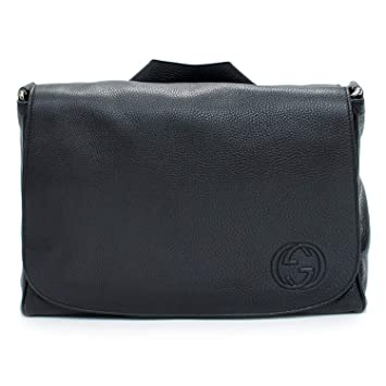 205e7778cbd Image Unavailable. Image not available for. Color  Gucci Soho Black Diaper  Bag Leather Italy Messenger New