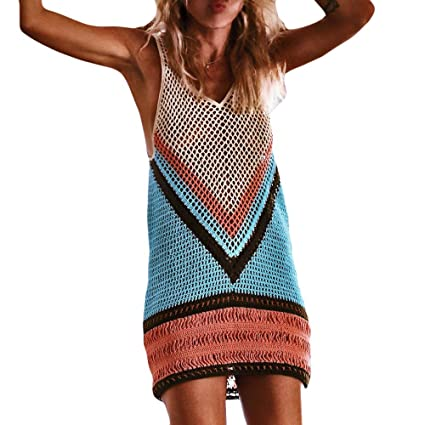 f70f3dffa6 Women s Crochet Tassel Cover Up Hollow Knitted Swimsuit Fringed Bohemia  Smock Sexy Sleeveless Sundress Bathing Suit