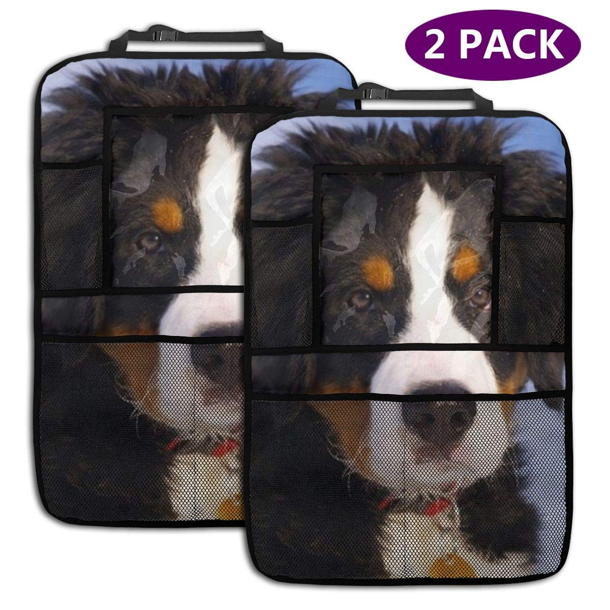 QF6FEICHAN Bernese Mountain Dog Car Seat Back Protectors with Storage Pockets Kick Mats Accessories for Kids and Toddlers by QF6FEICHAN