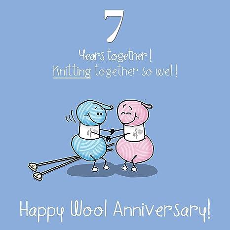 Anniversario Di Matrimonio 7 Anni.7 Di Nozze Biglietto Di Auguri Anniversario Anniversario Di