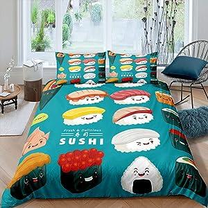 Erosebridal Sushi Duvet Cover for Kids Boys Girls Kawaii Style Comforter Cover, Sushi Smiling Cartoon Bedspread Cover Decor Japanese-Style Bedding Set with Zipper Closure Twin Size, Blue