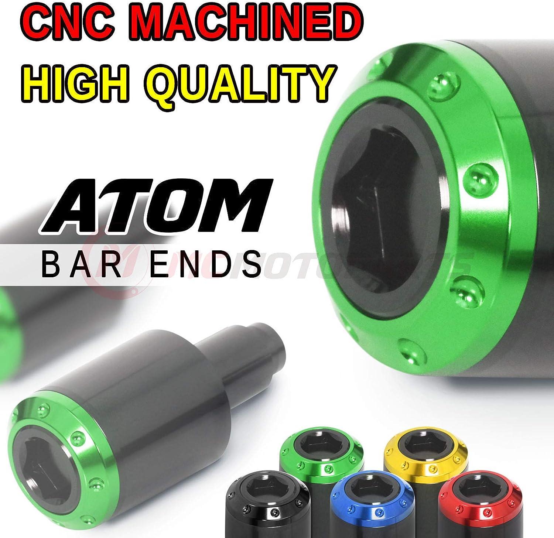 Green MC MOTOPARTS ATOM CNC Bar End Sliders Plugs Logo For Kawasaki Ninja 400 2018-2019 19 18