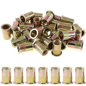50 Pcs Zinc Plated Carbon Steel Rivet Nut Flat Head Insert Nutsert 3//8-16