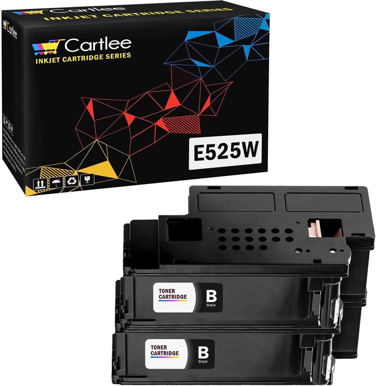 Cartlee Set of 2 Black Compatible High Yield Laser Toner Cartridges Replacement Ink for Dell E525W E525DW 525W 525DW 525 DPV4T H3M8P Color Printers