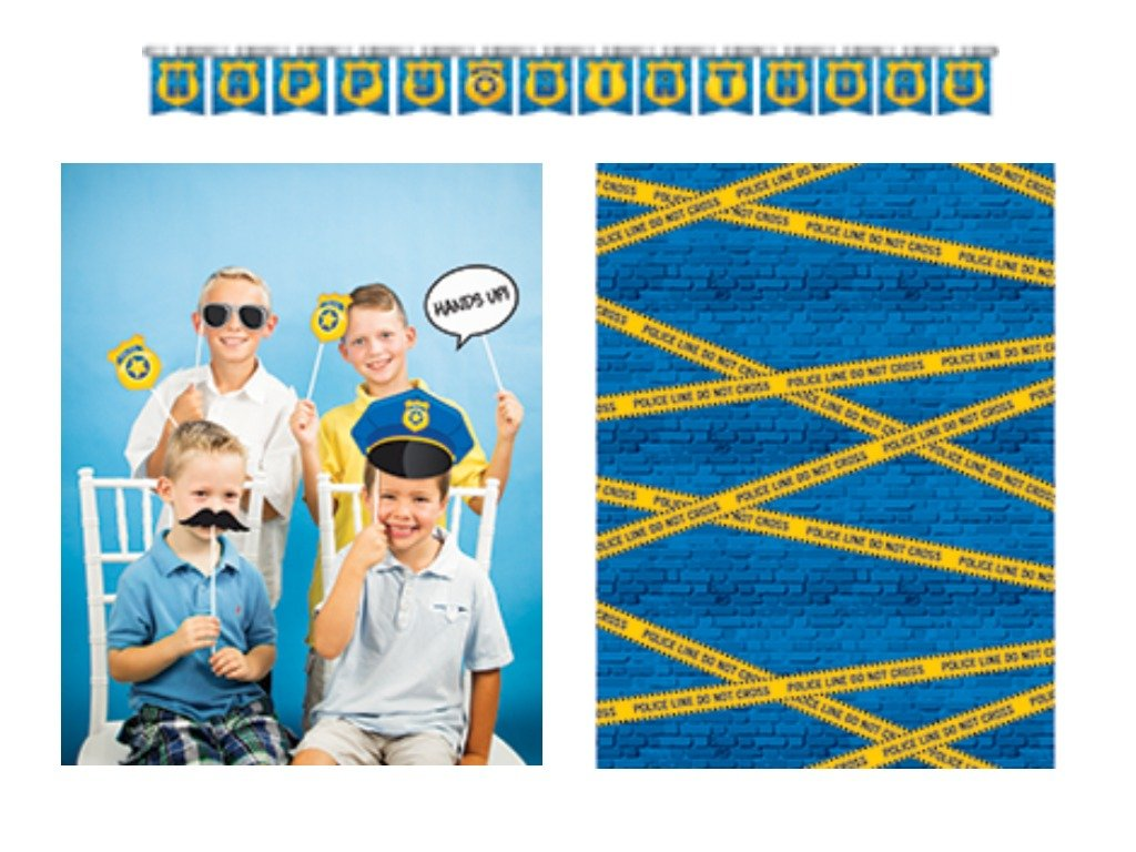 Police Officer Car Birthday Party Decorations Kit Including Photo Backdrop, Photo Booth Props and Banner