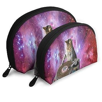 Amazon Com Makeup Bag Galaxy Cat Wallpaper Handy Half Moon