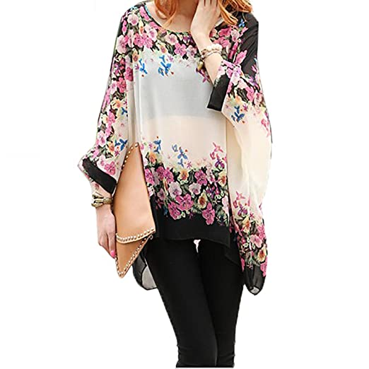 9f0e705f863ca9 Women Floral Tunic Tops, Long Bohemian Bat-Wing Chiffon Flower Printed  Blouse