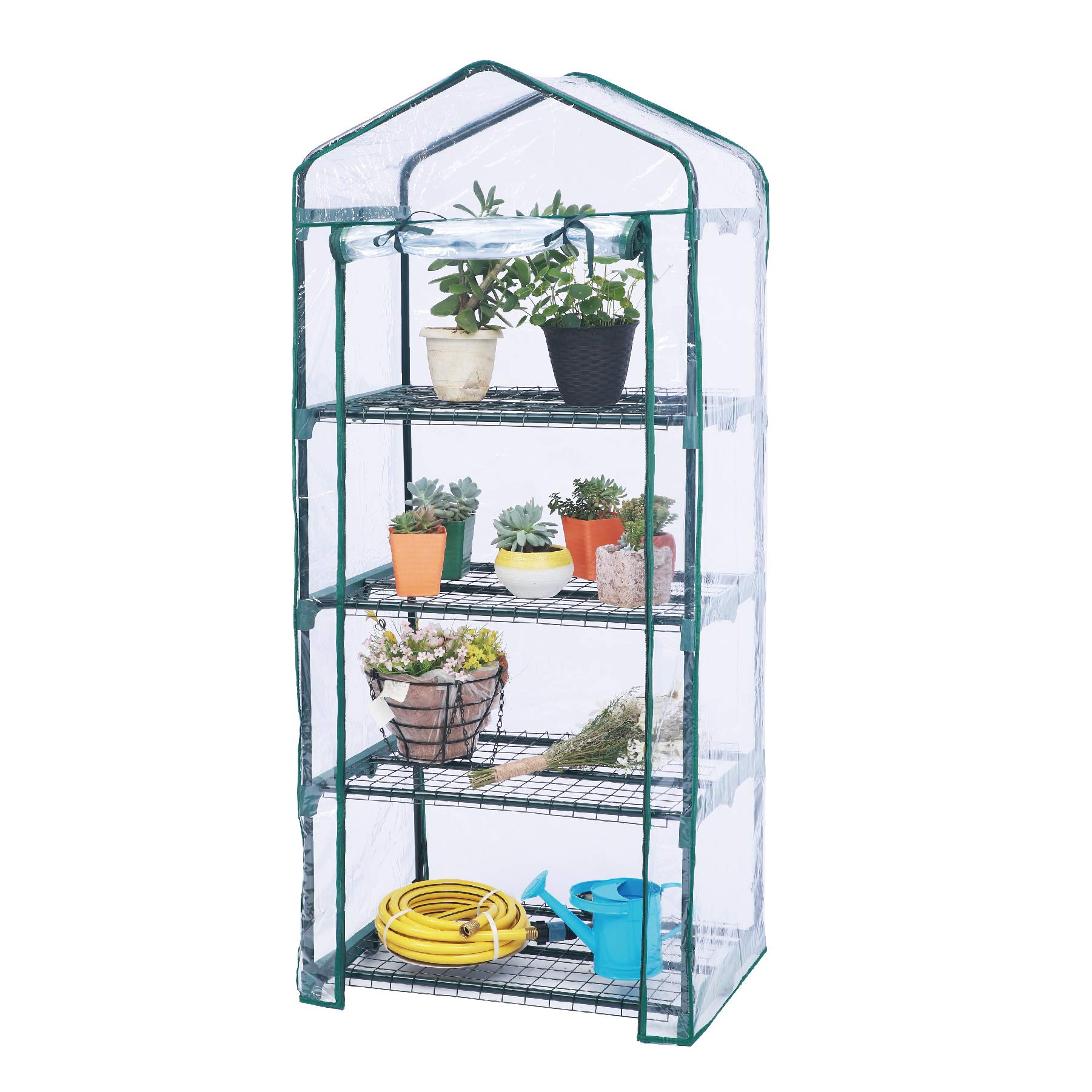 Worth Mini Greenhouse - New Metal Green Version with 4 Tier Collapsible Shelves - Best Greenhouse with ROLL UP Zipper Door Seedlings & Seed Propagation Plant Growing