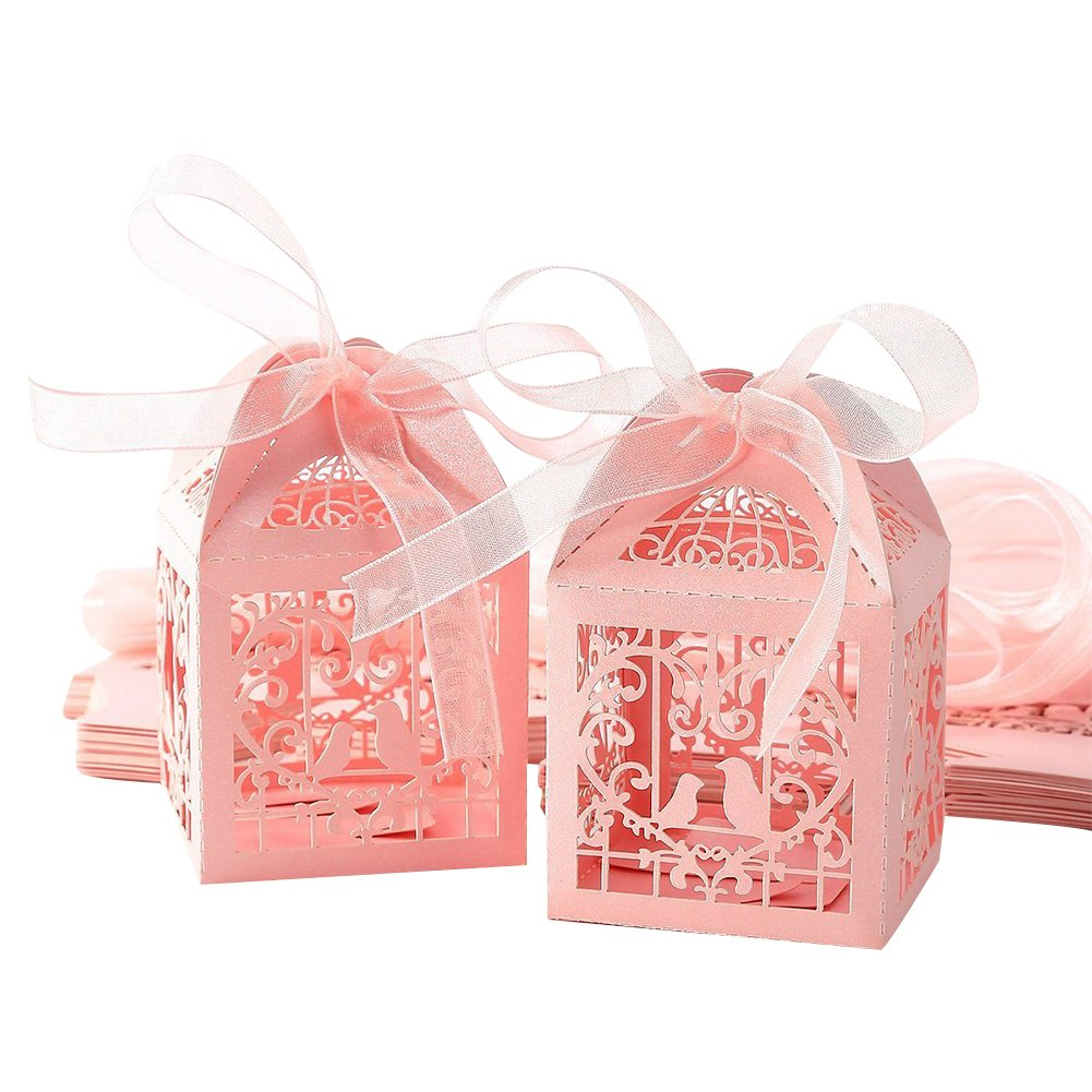 Amazon.com: Lothver 50pcs Wedding Favors Candy Box Love Heart Laser ...