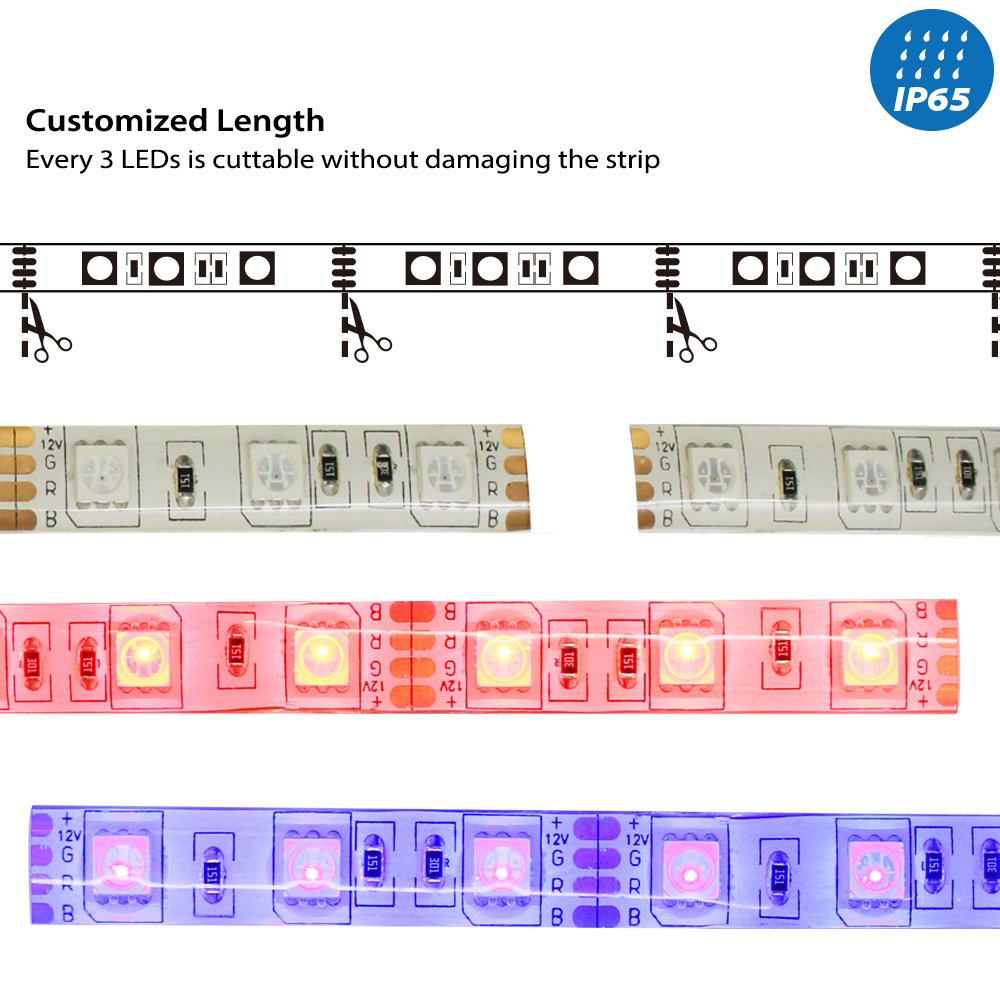 164ft Rgb Multi Color Flexible Waterproofip 65 Strip Developing A Circuit That Will Use Many Leds Mixing Ordinary 5mm Light Kit 300 With 44key Ir Remote Controller 3m Adhesive Tape Plug And Play