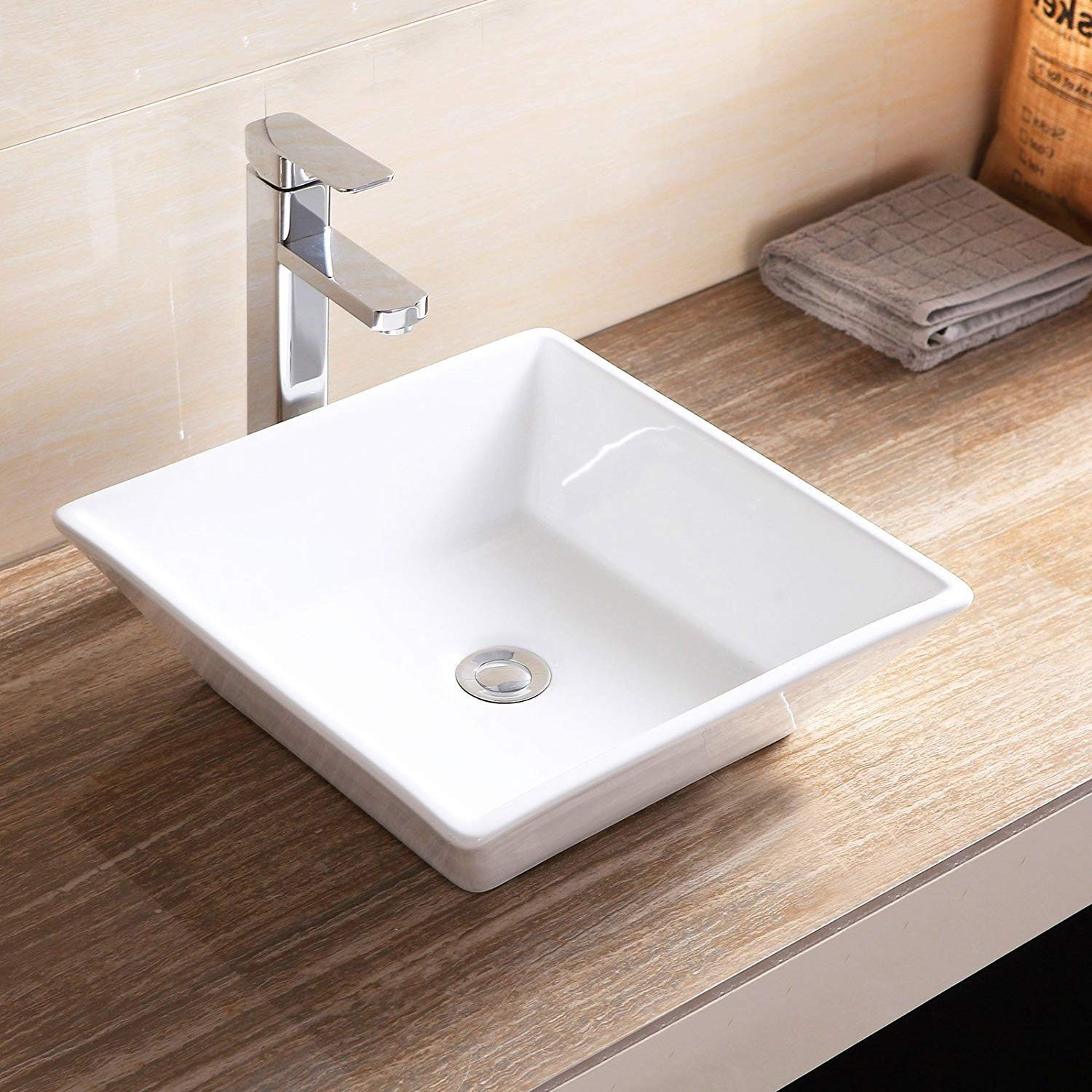 Mecor 16 X 16 Beveled Square White Porcelain Ceramic Basin Vessel Vanity Sink Bowl Bathroom With Pop Up Drain