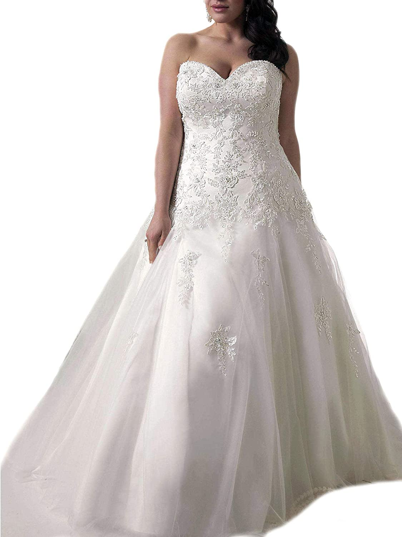 Weddingdazzle Applique Wedding Bridal Long Plus Size Wedding Dresses