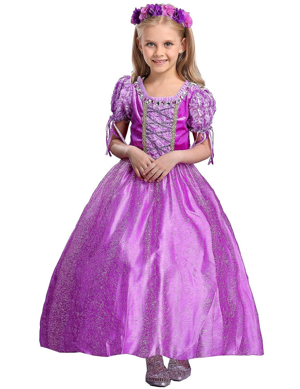 RIBIKA Disfraz de Halloween de princesa de pelo largo para niñas, disfraz de hada