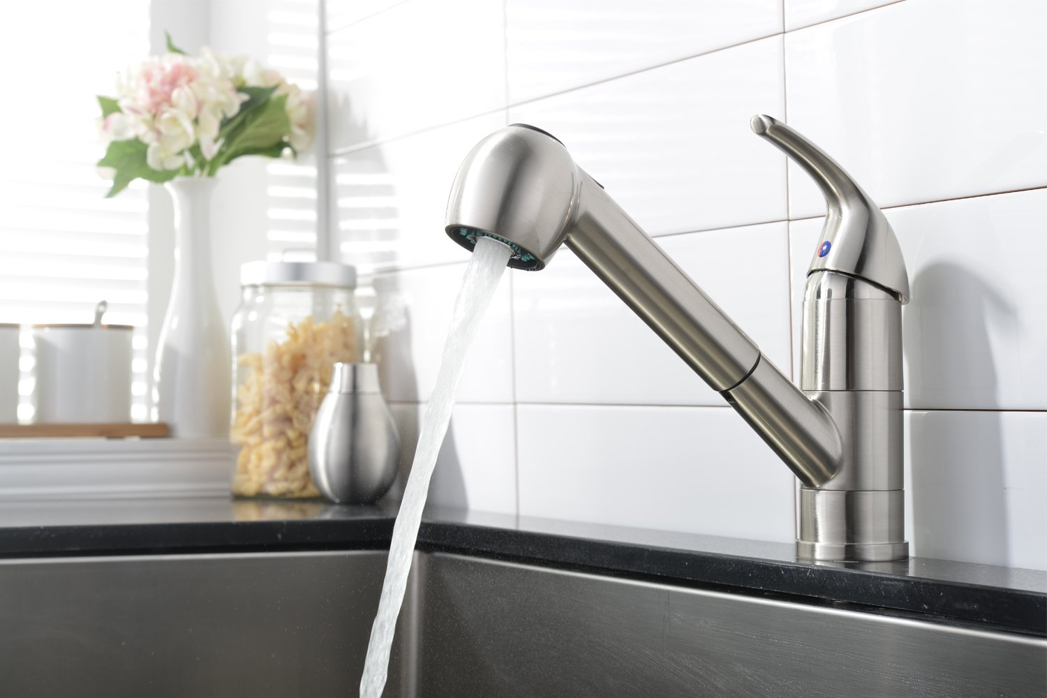 comllen commercial stainless steel single handle pull out kitchen faucet single lever pull down brushed nickel kitchen faucets without deck plate