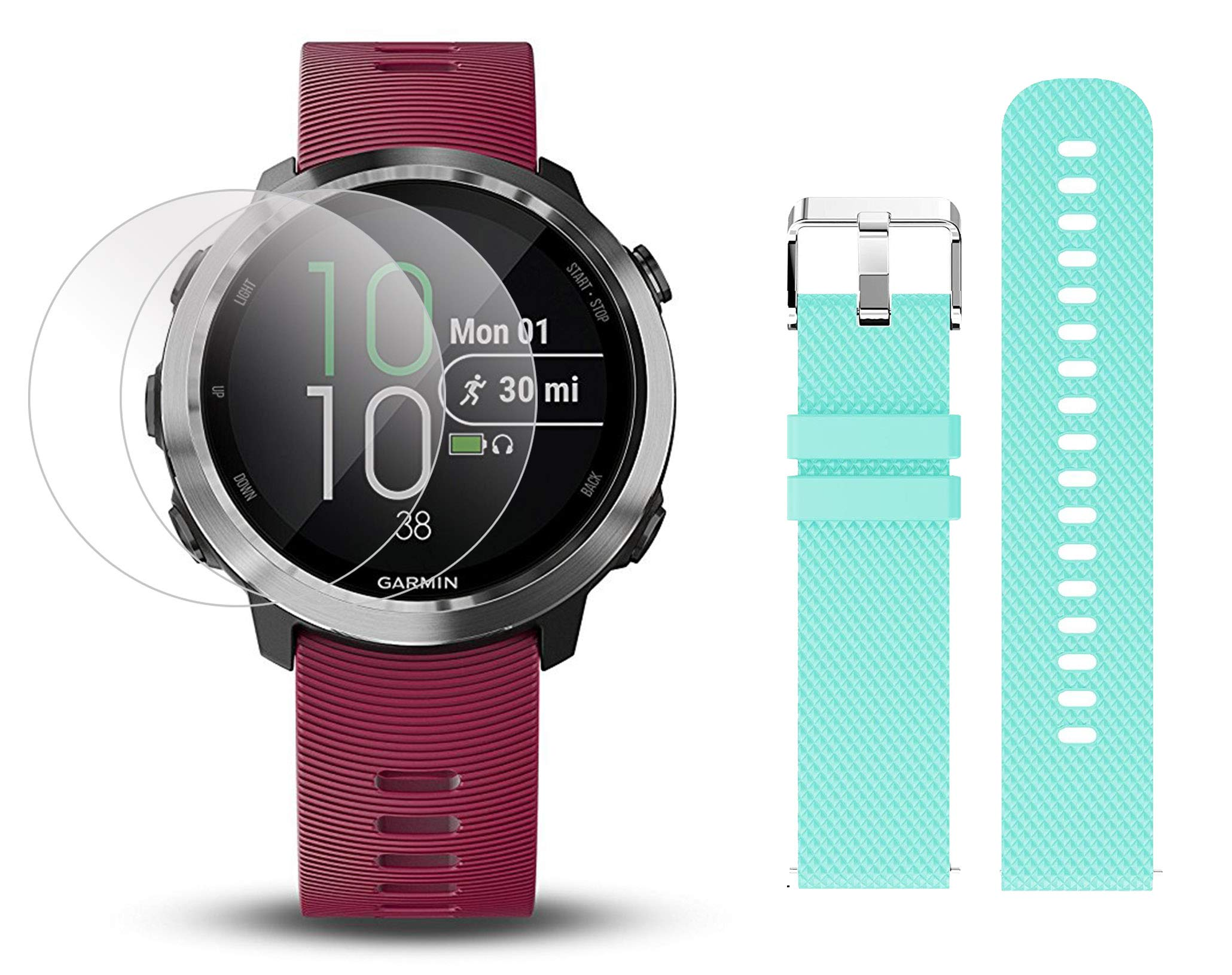 Garmin Forerunner 645 Music Bundle with Extra Band & HD Screen Protector Film (x4) | Running GPS Watch, Wrist HR, Music & Spotify, Garmin Pay (Cerise + Music, Teal) by PlayBetter (Image #1)