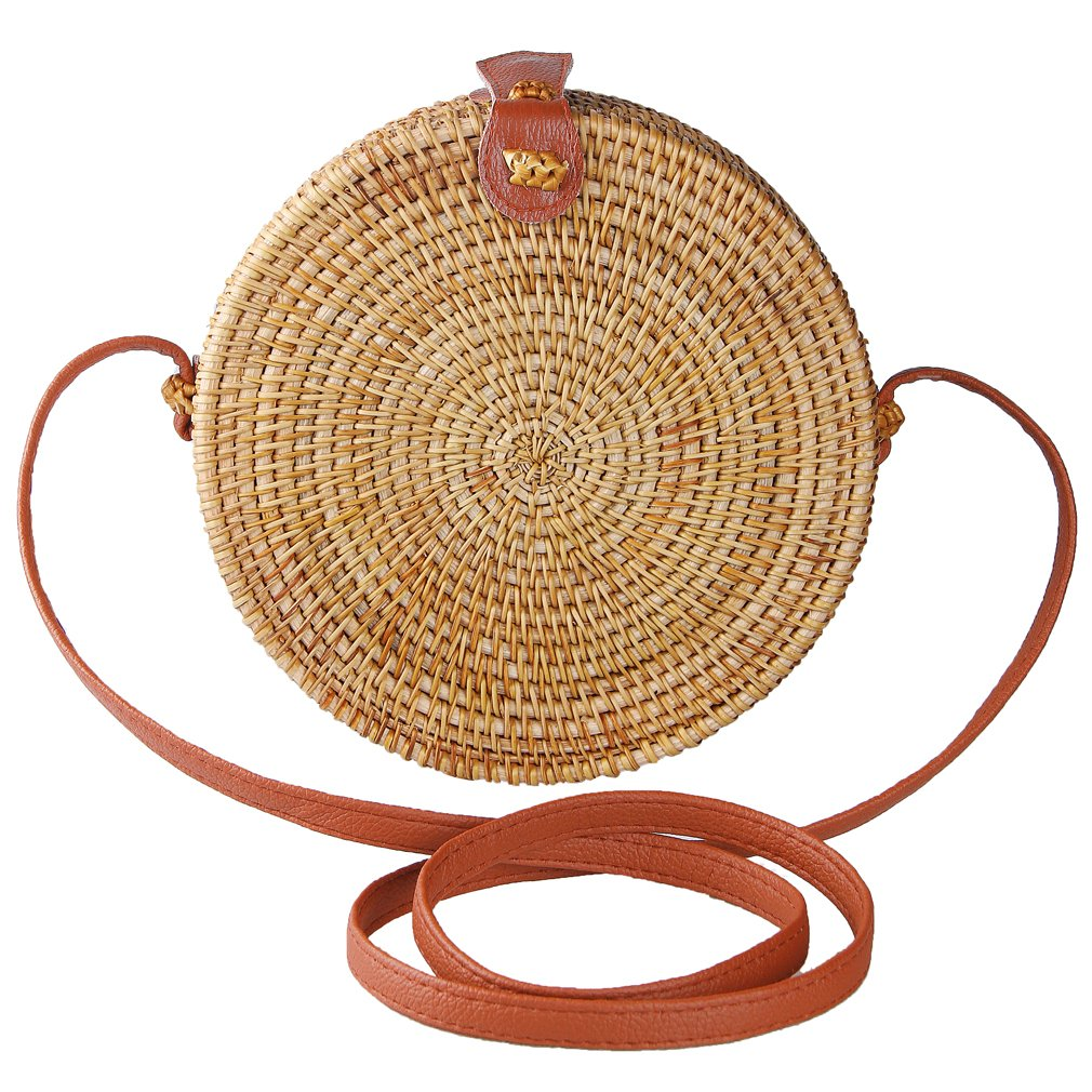 Partrisee Rattan Shoulder Tote bag Round handle Straw Crossbody bag Handwoven by Bali Artisans for Women